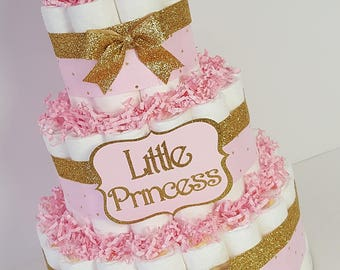 3 Tier Pink Gold Little Princess Diaper Cake Girl Baby Shower Centerpiece Tiara Decoration