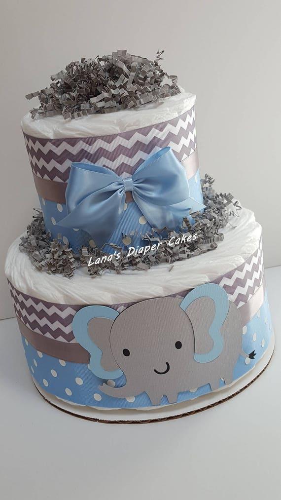 2 Tier Blue Amp Gray Elephant Diaper Cake Baby Shower Etsy
