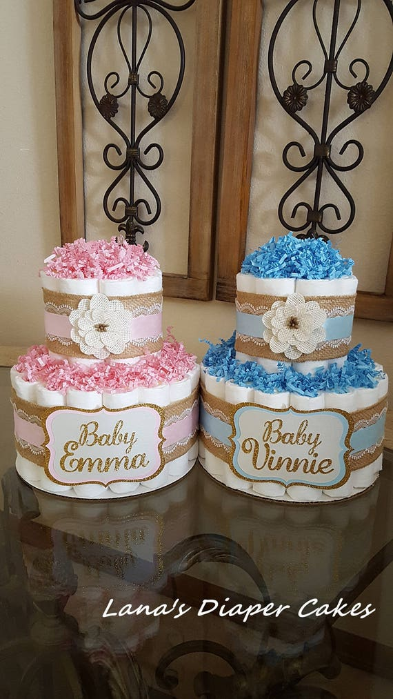 Set Of 2 Twins Pink And Blue Diaper Cakes Shabby Burlap Etsy