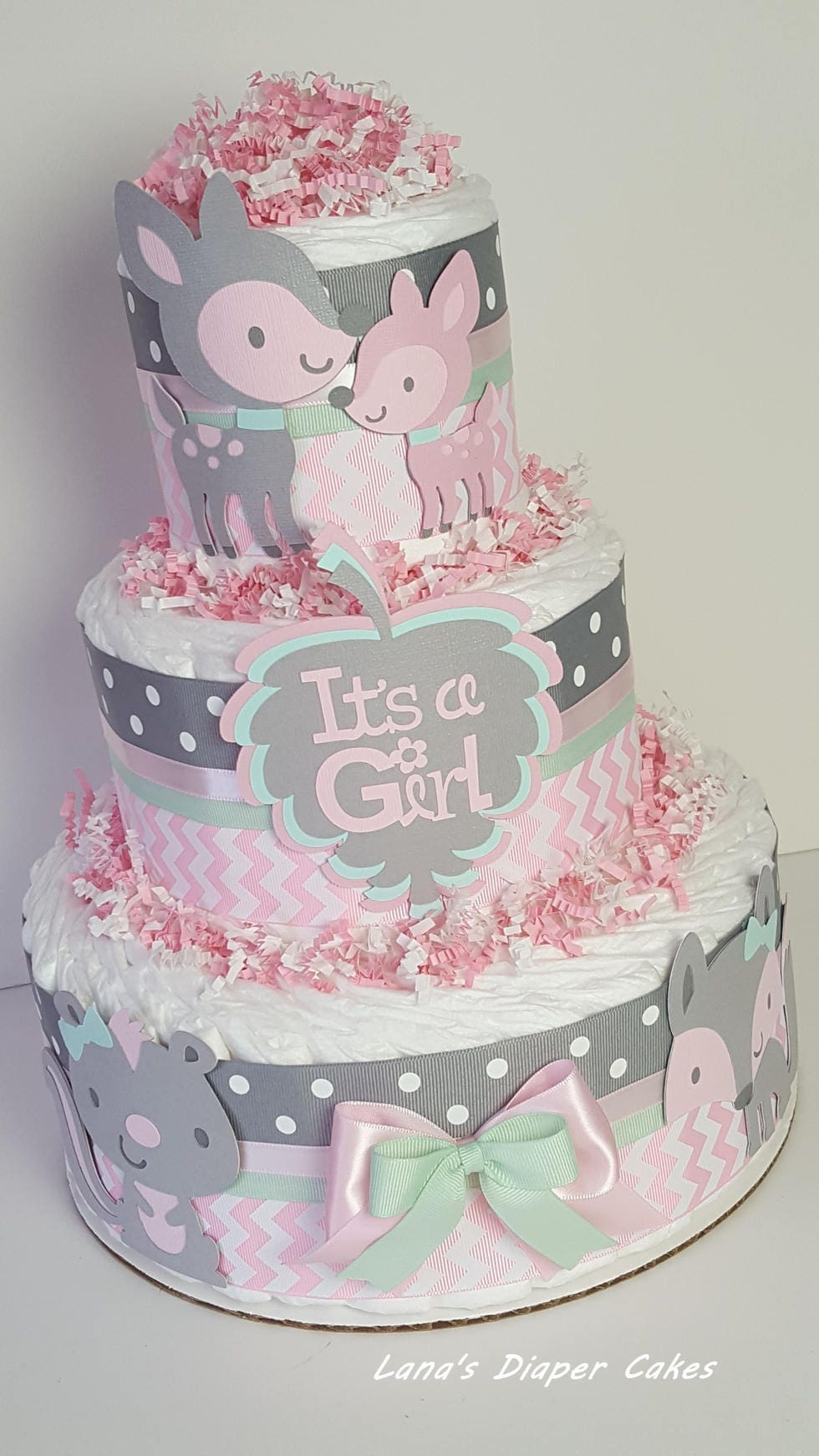 3 tier pink & gray baby woodland diaper cake girl baby shower | etsy