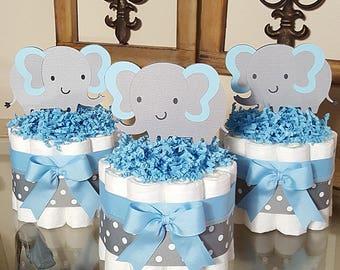Set Of 3  Blue And Gray Elaphant Mini Diaper Cake Baby Shower Centerpiece