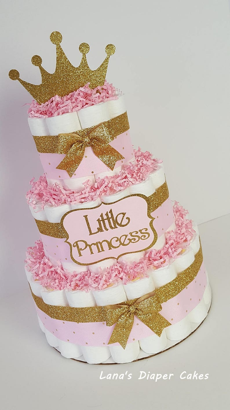 3 Tier Pink Gold Little Princess Diaper Cake Girl Baby