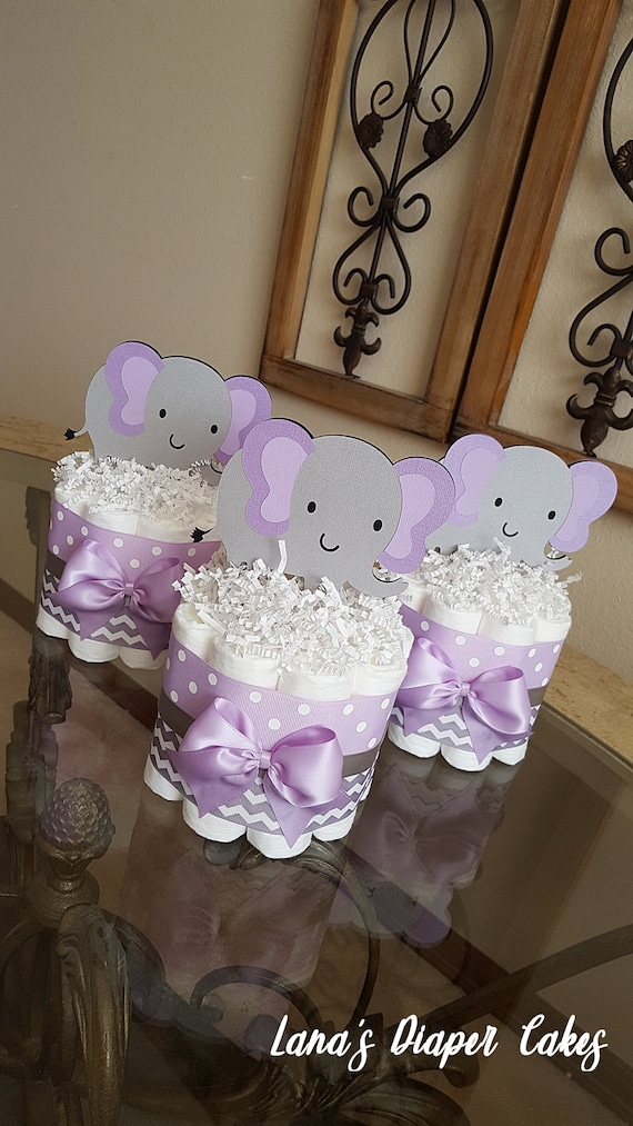 Gray Elephant Mini Diaper Cake Baby, Purple Elephant Mini Crib Bedding