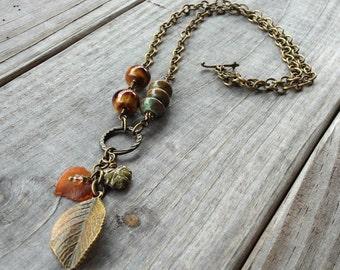Leaf Trio Charm Necklace