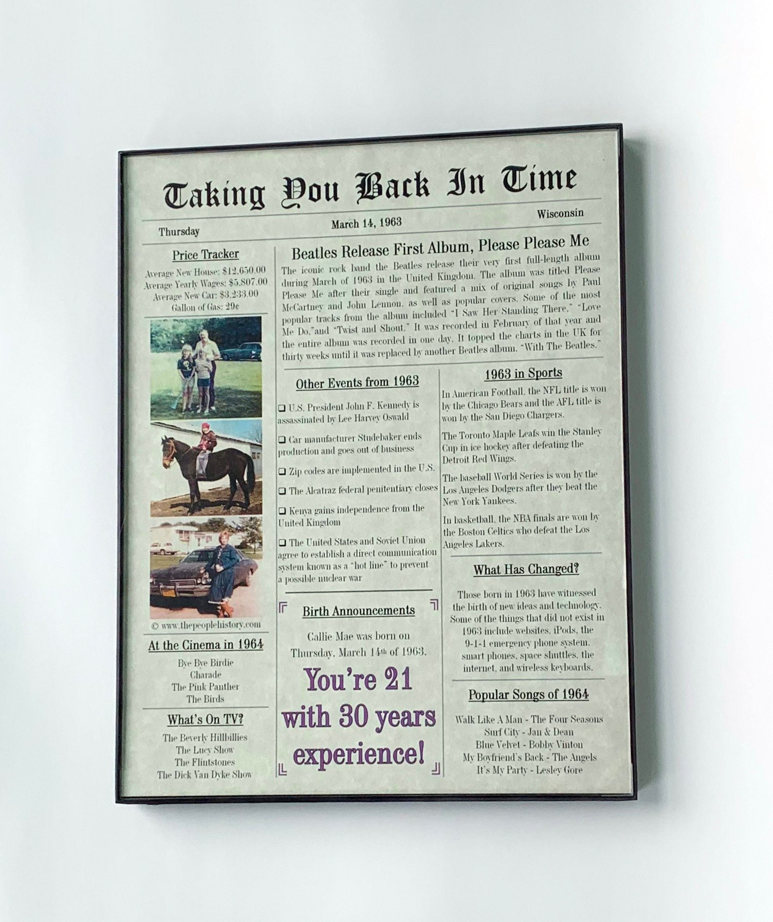 Custom Newspaper Print in Frame - Physical Copy + PDF Copy - For Birthdays,  Anniversaries, Retirements and Special Occasions - FREE SHIPPING