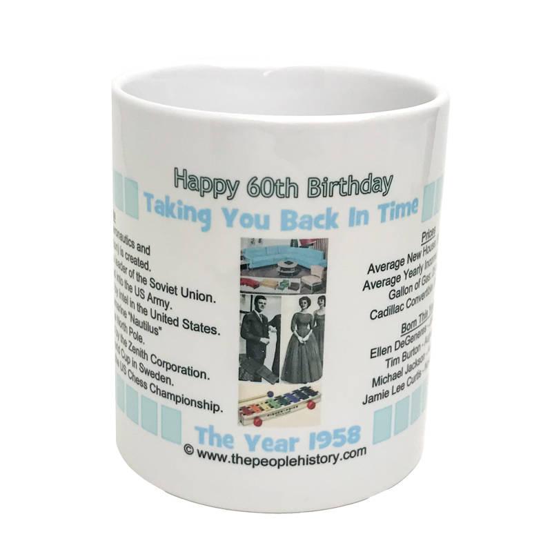 Pre-Made 1958 Birthday Message Mug Happy 60th Birthday