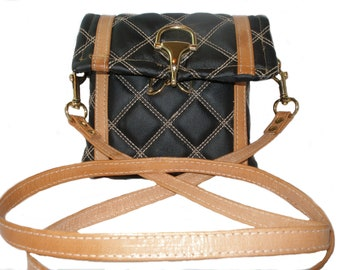 Black and Tan Quilted Purse