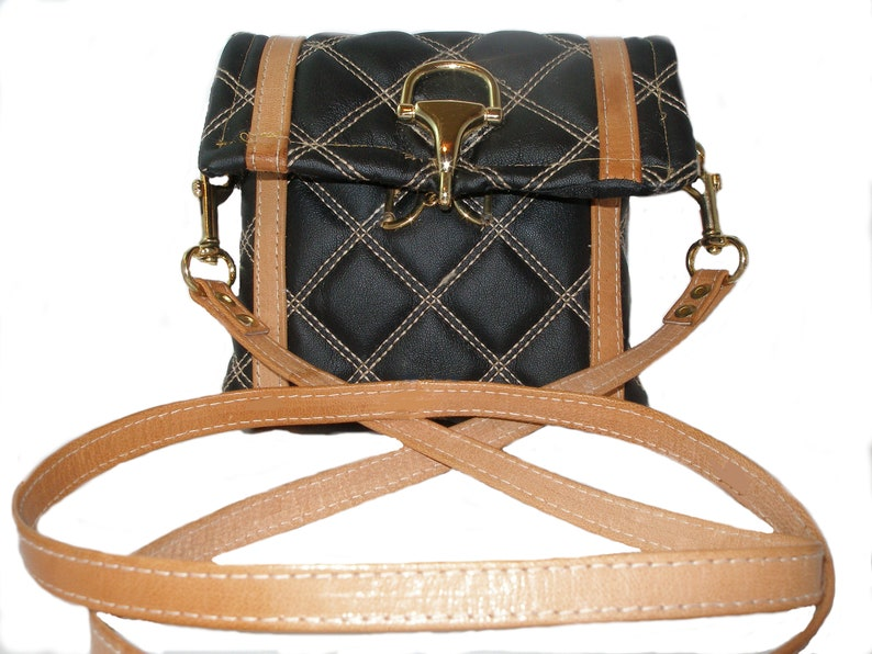 Black and Tan Quilted Purse image 0