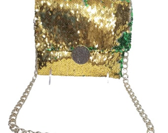 Green and Gold Flipped Sequin Purse