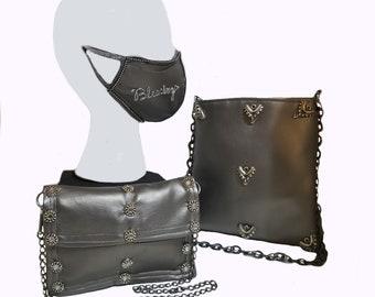 Steampunk Style Dark Gray Vegan Mask Purse Bag Set