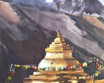 Mount Kantega, Himalaya, Nepal Watercolor Painting, Himalaya Painting - Original Watercolor Painting, Himalayas, Himalaya Mountain