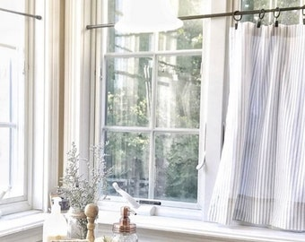 cafe curtains ticking striped curtains classic stripe kitchen curtains window treatments kitchen decor striped curtain - Kitchen Curtain