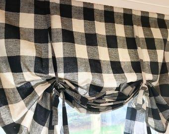 Black And Natural Buffalo Check Tie Up Shade Designer Valance Plaid Modern Home Decor Nursery Kitchen Curtain