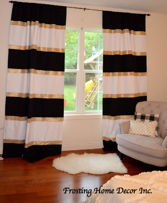 Custom Black White And Gold Striped Curtains Color Blocked Etsy