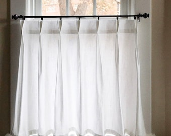 Pleated Solid Cotton Linen (LOOK) Texture Cafe Curtains , Tier Curtains, Kitchen Curtains, Bathroom Curtains , Window Treatments, Farmhouse