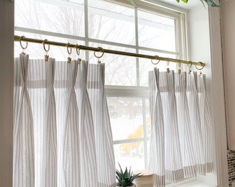 Pleated ticking striped Cafe Curtain , Tier Curtains, Kitchen Curtains, Bathroom Curtains , Window Treatments, Farmhouse