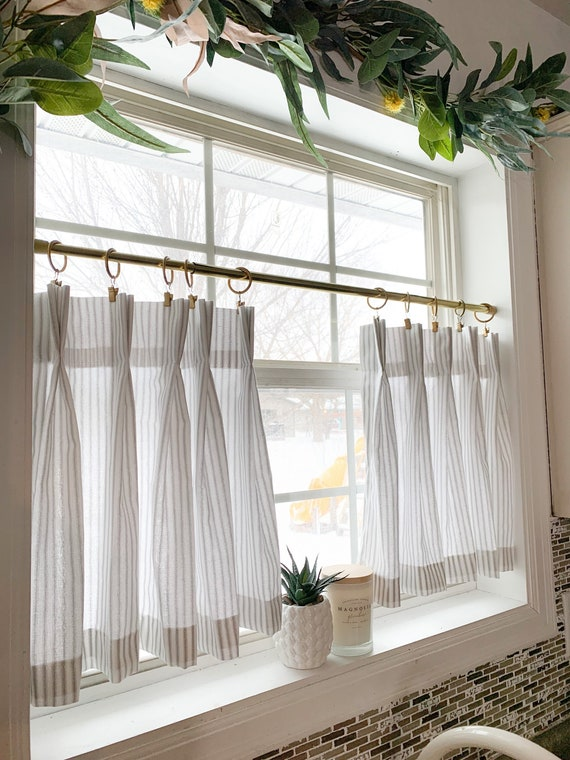 Pleated Ticking Striped Cafe Curtains Tier Curtains Kitchen Etsy