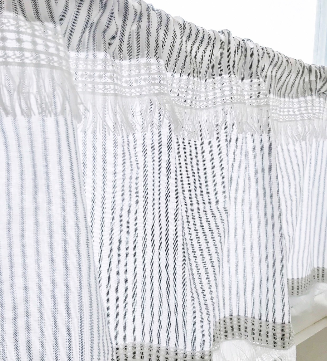 Cafe Curtains, Ticking Striped, Curtains, with white boho trimming, Kitchen  Curtains, Window Treatments, Kitchen Decor