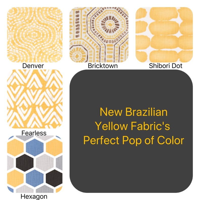 New Brazilian Yellow COLLECTION Print Pillow Covers Add some Sunshine to your spaces Yellow Pillow