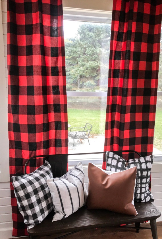 1 Pair Red Blue And Gray And Black Buffalo Plaid Curtains Etsy
