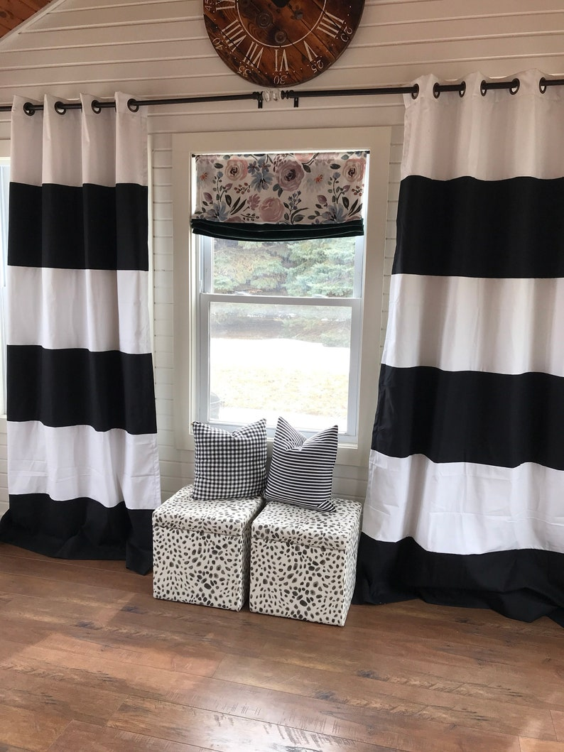 Black Striped Curtains Color Blocked Stripes Custom Black and White Striped Curtains Nursery Curtains Striped Home Decor Black Striped