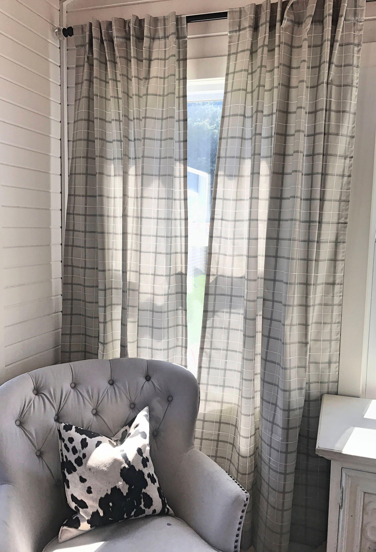 Pair of Taupe Plaid Curtains, Kitchen Decor, Bedroom Decor, Vintage, Window  Treatments, Modern Nursery, Farmhouse Decor