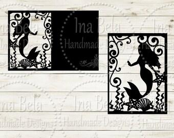 Mermaid Svg,Mermaid Card Svg,Instant Download,Svg Files for Cricut,Svg Files,Mermaid Cut File,Cut Vector File,Silhouette Svg File,Mermaid