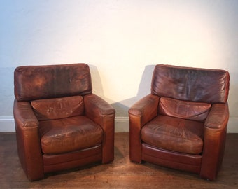 High End Luxury Roche Bobois Leather Cigar Club Lounge ChairsTre Erre Italy- a Pair & Cigar chair | Etsy