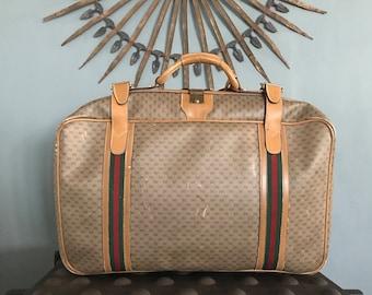 fce074de7250 Authentic Vintage GUCCI Luxury Suitcase Luggage Monogram GG Canvas Leather
