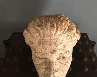 Monumental Cast Concrete Head Form Sculpture