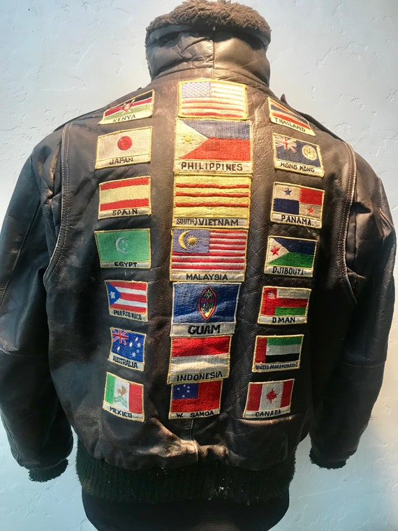 Vintage 1970s Excelled Multi Patch Leather Bomber