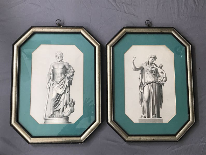 Beautiful Pair 2 20th Century Neoclassical Octagon Framed Engravings,France c.1920