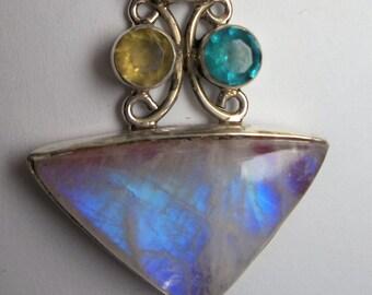 Large Moonstone , amethyst, yellow and blue gem Pendant