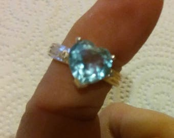 Heart shape blue topaz diamond SS ring  6