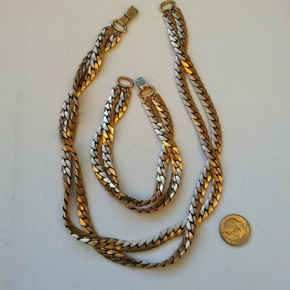 Heavy gold filled set vintage chains necklace brac