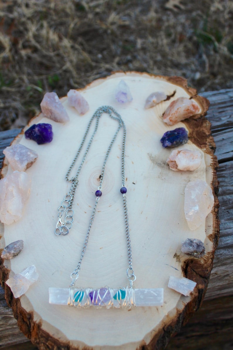 Selenite Serenity Chain Necklace Wire Wrapped Selenite With Amethyst /& Blue Apatite