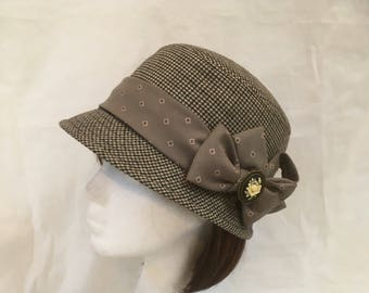Tweed hat, country hat, winter hat, Vintage hat, Victorian accessory, Cloche Hat, bowler hat