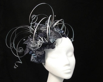 Silver fascinator, Black hat, Grey fascinator, Mother of the bride, Unique fascinator, Bespoke headdress, UK fascinator, Amanda Sutherland