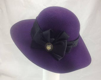 Wide brimmed hat , purple hat , vintage hat,  ladies hat , 70s style hat, retro hat