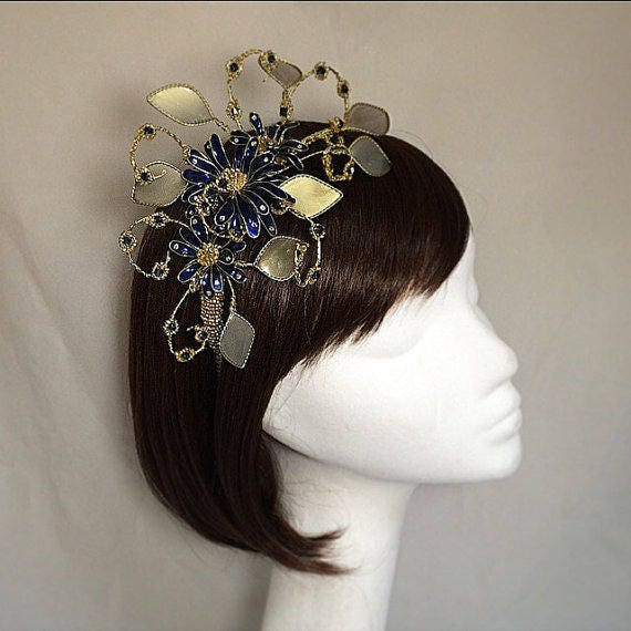 Navy fascinator gold fascinator Gold tiara Navy headdress  ba37289e090