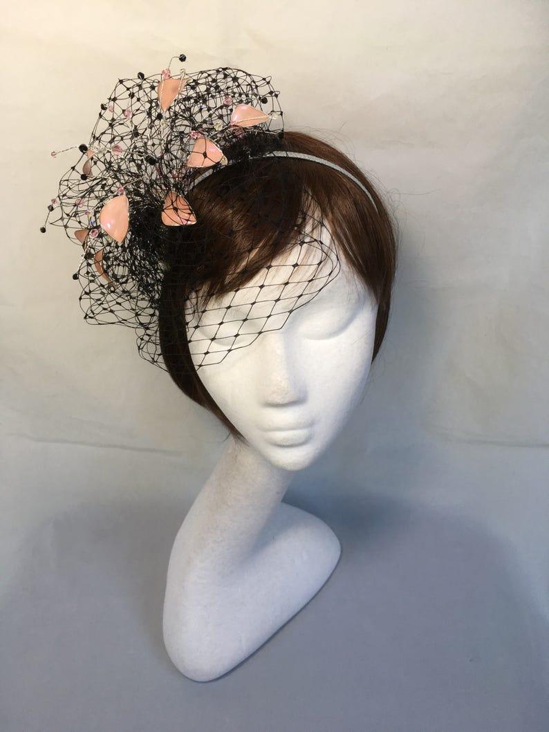 black fascinator mother of the bride Pink fascinator Summer wedding pink and black hat wedding hat