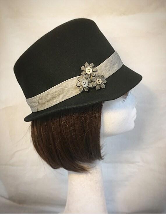 Black trilby hat British hat fedora hat Ladies hat wool  514032736f36