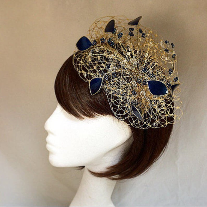 Gold fascinator wedding headdress Navy and gold fascinator  16a0f083957