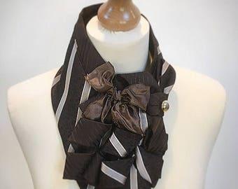 Ladies scarf, vintage, ascot scarf, steampunk, ladies cravat, loop scarf, pinstriped scarf