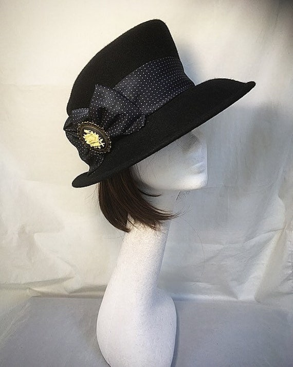Vintage top hat phillip somerville black wool hat mad  9fcdb9104cd