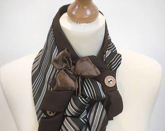 Ladies scarf, vintage, ascot scarf, steampunk, ladies cravat, loop scarf, brown scarf