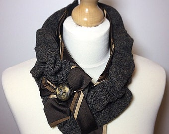 Brown cravat, quirky scarf, Ruffle scarf, Winter accessory, Infinity scarf, Neckwarmer, Steampunk scarf.