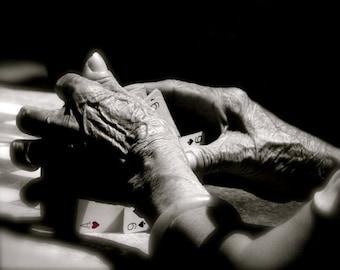 Poker Hands - black and white fine art photograph - Hands Photograph - Wall Decor - Hands and Poker - Aged Hands