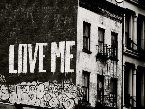 black and white graffiti art love me new york etsy