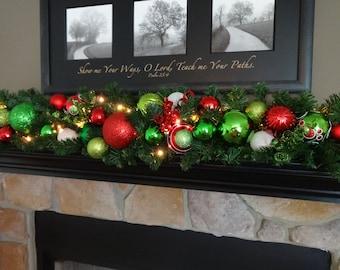 christmas garland christmas mantle decoration red green white christmas decoration christmas decor swags by kari